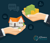 Human hands with money and building house. Flat style concept design illustration. Real estate banner - 170556829