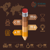 Education concept. Pencil and bubble speech with icons. can be used for web design, banner template, number options, step up options, workflow layout, diagram, infographic. - 170557046