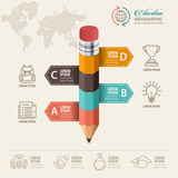 Education concept. Pencil and bubble speech with icons. can be used for web design, banner template, number options, step up options, workflow layout, diagram, infographic. - 170557061