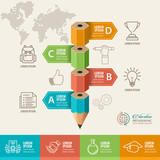 Education concept. Pencil and bubble speech with icons. can be used for web design, banner template, number options, step up options, workflow layout, diagram, infographic. - 170557090