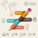 Education concept. Pencil and bubble speech with icons. can be used for web design, banner template, number options, step up options, workflow layout, diagram, infographic. - 170557206