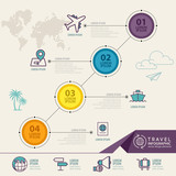 Infographic elements with travel icons. can be used for travel infographic, web design, banner template, number options, step up options, workflow layout, diagram, infographic. - 170557250