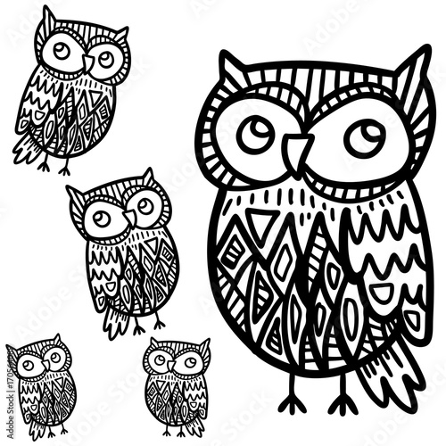 Aluminium Uilen cartoon Hand drawn black white illustration owl fly bird. Art Coloring book. Cute sitting black and white sketch with floral ornament .