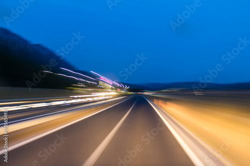 Foto op Plexiglas Nacht snelweg Speeding on the highway. motion blur