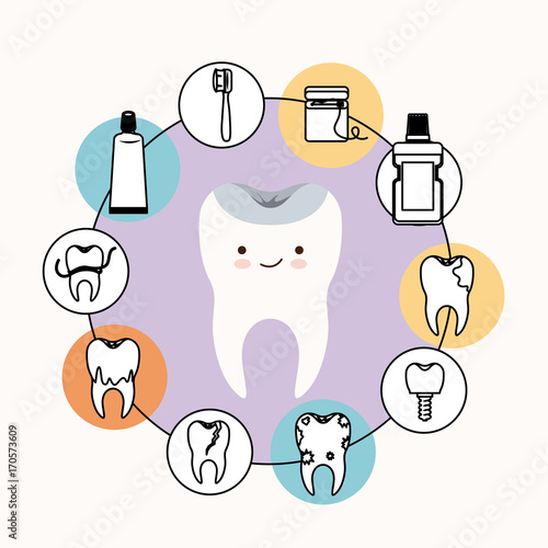 kawaii caricature healthy tooth dental care with happiness expression with circular frame icons dental care on white background vector illustration - 170573609