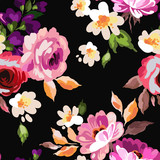 Beautiful seamless floral pattern with watercolor effect. Flower vector illustration - 170577419