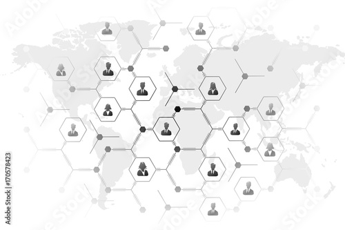 Fotobehang Wereldkaarten Network grid illustration with business people icons over world map