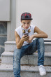 Young student man with smartphone
