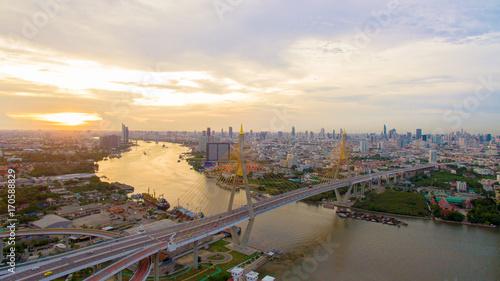 Fotobehang Bangkok aerial view of bhumibol bridge crossing chaopraya river in bangkok