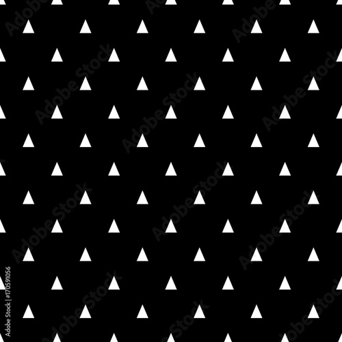 Seamless pattern with small white triangles on a black background. Basic geometric background - 170591056