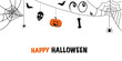 Happy Halloween greeting card with skull, spider, pumpkin, eyes, bat