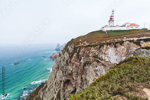 Fotobehang Cappuccino Landscape of Cabo da Roca with the lighthouse