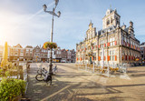 View on the Town hall and beautiful buildings on the central square during the sunny morning in Delft city, Netherland - 170598208