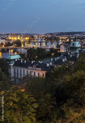 Dusk view on Prague and its bridges Poster