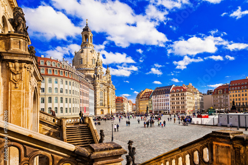 Aluminium Freesurf Travel in Germany - elegant baroque Dresden. square Neumarkt with famous Frauenkirche church