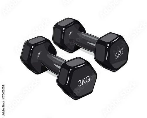 Black dumbbells for fitness. Sports inventory. Barbells.
