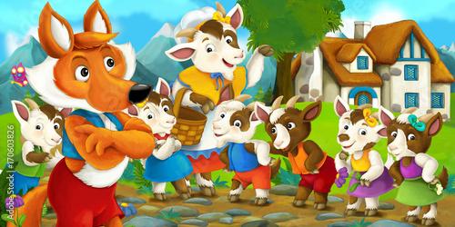 Fotobehang Boerderij cartoon scene with fox and little goats - illustration for children