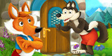 cartoon scene with fox talking to wolf near old looking house - illustration for children