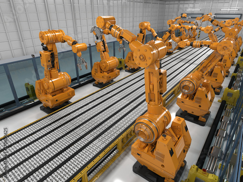 robot arms with conveyor line