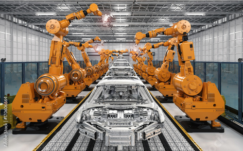 robot assembly line in car factory - 170606664