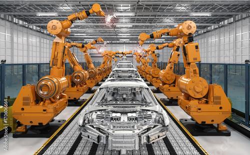 linia montażowa robota w fabryce samochodów