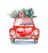 Christmas illustration. Watercolor retro car with gift box and christmas tree on top and snowflakes. Isolated winter holiday object on white background