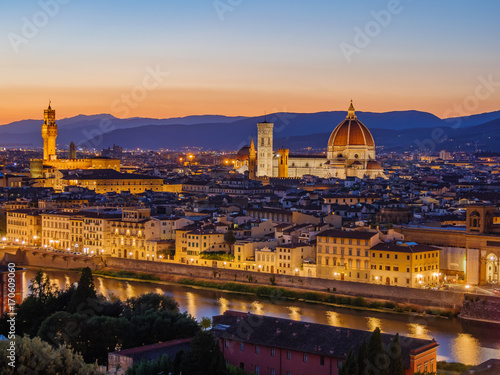 Fotobehang Florence florence at night in sunset