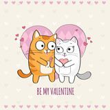 Happy Valentines Day card with cute Cats