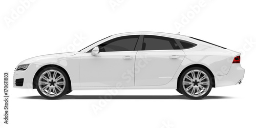 Wall mural White Sedan Car Isolated