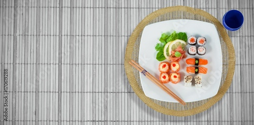 Papiers peints Sushi bar Composite image of high angle view of japanese food