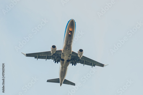 airplane from beneath , aircraft flying from below Poster