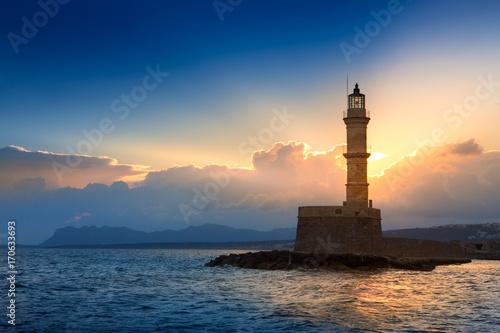 Aluminium Vuurtoren Lighthouse on sunset. Chania, Crete, Greece.