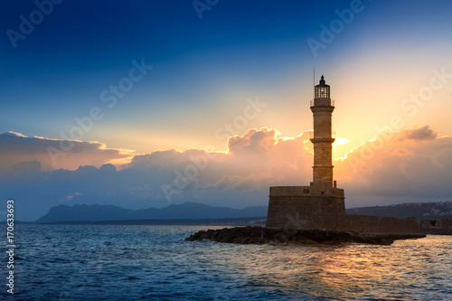 Lighthouse on sunset. Chania, Crete, Greece. Poster