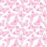 seamless sketch pink butterflies
