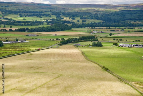 Aluminium Groen blauw panorama of Scotland highland in Stirling city