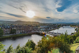 panorama of the city of Inverness in Scotland, on the banks of Loch Ness lake