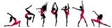 Silhouettes of dancers on a white background, vector