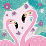 Vector illustration pink flamingo couple. Cool flamingo decorative flat design element.