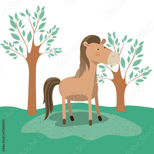 Fotobehang Zoo horse animal caricature in forest landscape background vector illustration