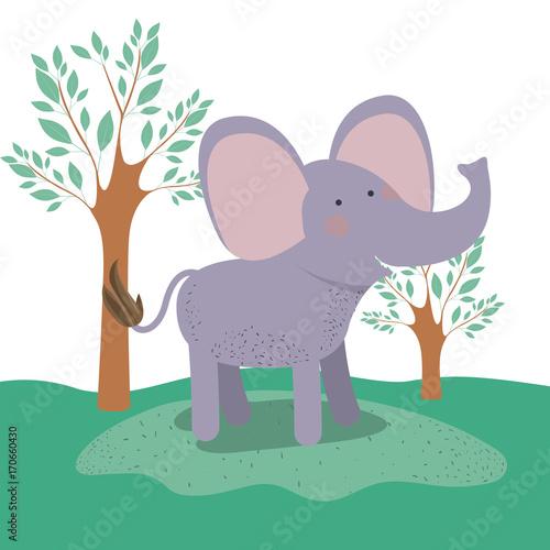 Fotobehang Zoo elephant animal caricature in forest landscape background vector illustration