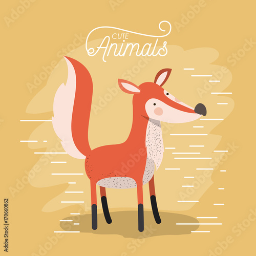 Sticker fox animal caricature in color background with lines vector illustration