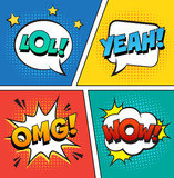 Retro comic speech bubbles set on colorful background. Expression text LOL, OMG, WOW, YEAH. Vector illustration, vintage design, pop art style.