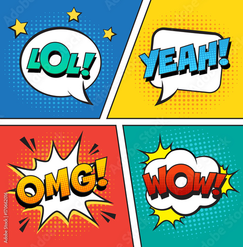 Aluminium Pop Art Retro comic speech bubbles set on colorful background. Expression text LOL, OMG, WOW, YEAH. Vector illustration, vintage design, pop art style.