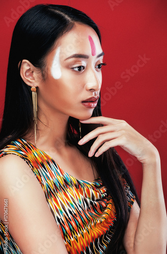 beauty young asian girl with make up like Pocahontas Poster