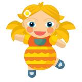 cartoon cheerful girl - doll isolated - illustration for children