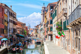 View  of colorful canal in Venice at  sunny  morning, Italy. - 170684231
