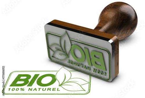 Agriculture Bio. Marquage Alimentation Biologique sur Fond Blanc
