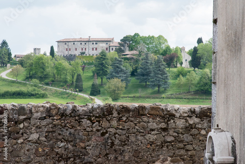 Fotobehang Grijs Castles and ancient churches on the Friuli hills. Journey to Arcano. Udine