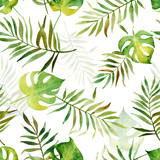 Seamless pattern with watercolor tropical leaves. - 170687471