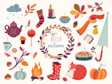 Autumn collection with hand drawn decorative elements, vector design - 170687852